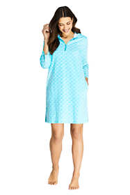 Women's Cotton Jersey Hooded Half Zip Swim Cover-up Print