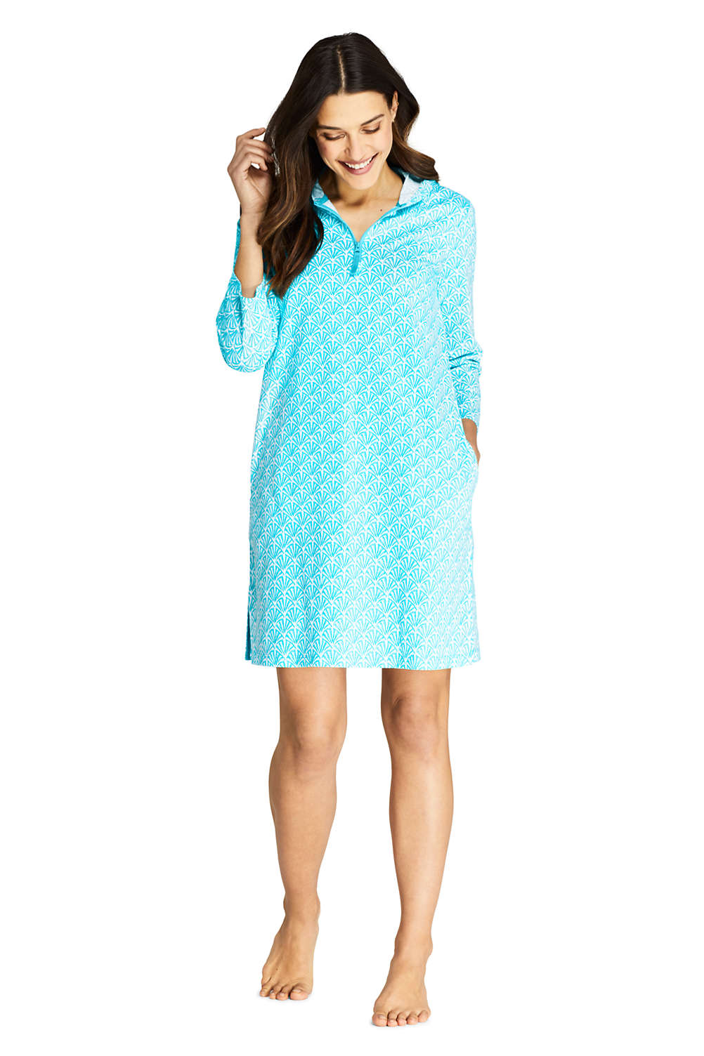 f7cf910db7b15 Women s Cotton Jersey Hooded Half Zip Swim Cover-up Print from Lands ...