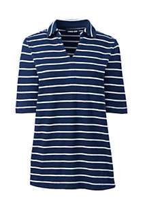 Women's Elbow Sleeve Linen Cotton Stripe Polo, Front