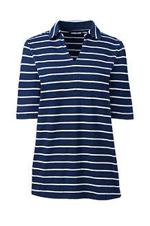 Women's Stripe Linen/Cotton Polo Shirt with Elbow Sleeves