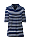 Women's Petite Stripe Linen/Cotton Polo Shirt with Elbow Sleeves