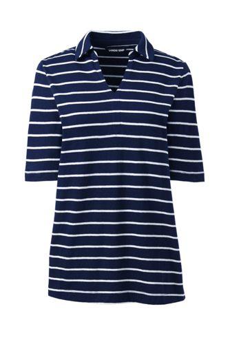 Gestreiftes Shirt mit Polokragen aus Leinenmix in Petite-Größe