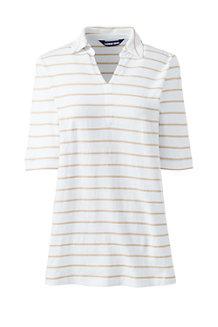 1109390b6cba28 Women s Stripe Linen Cotton Polo Shirt with Elbow Sleeves