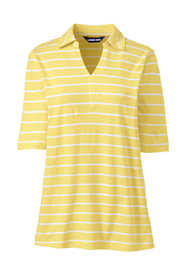 Women's Plus Size Elbow Sleeve Linen Cotton Stripe Polo