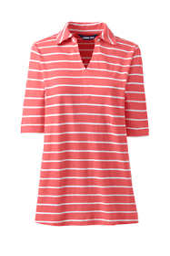 Women's Plus Size Elbow Sleeve Linen Cotton Stripe Polo