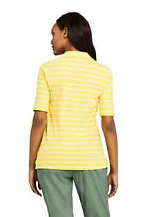 Women's Elbow Sleeve Linen Cotton Stripe Polo, Back