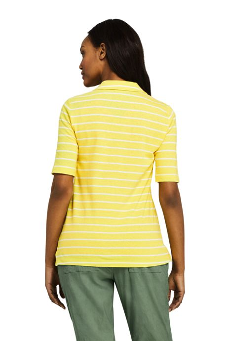 Women's Elbow Sleeve Linen Cotton Stripe Polo