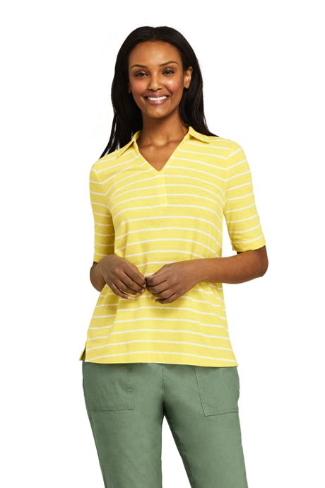 Women's Petite Elbow Sleeve Cotton Blend Stripe Polo