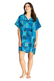Women's Cotton Voile Short Sleeve Kaftan Swim Cover-up Print