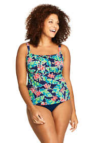 Women's Plus Size Tie Front Underwire Tankini Top Swimsuit Print