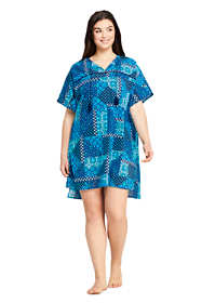 Women's Plus Size Cotton Voile Short Sleeve Kaftan Swim Cover-up Print