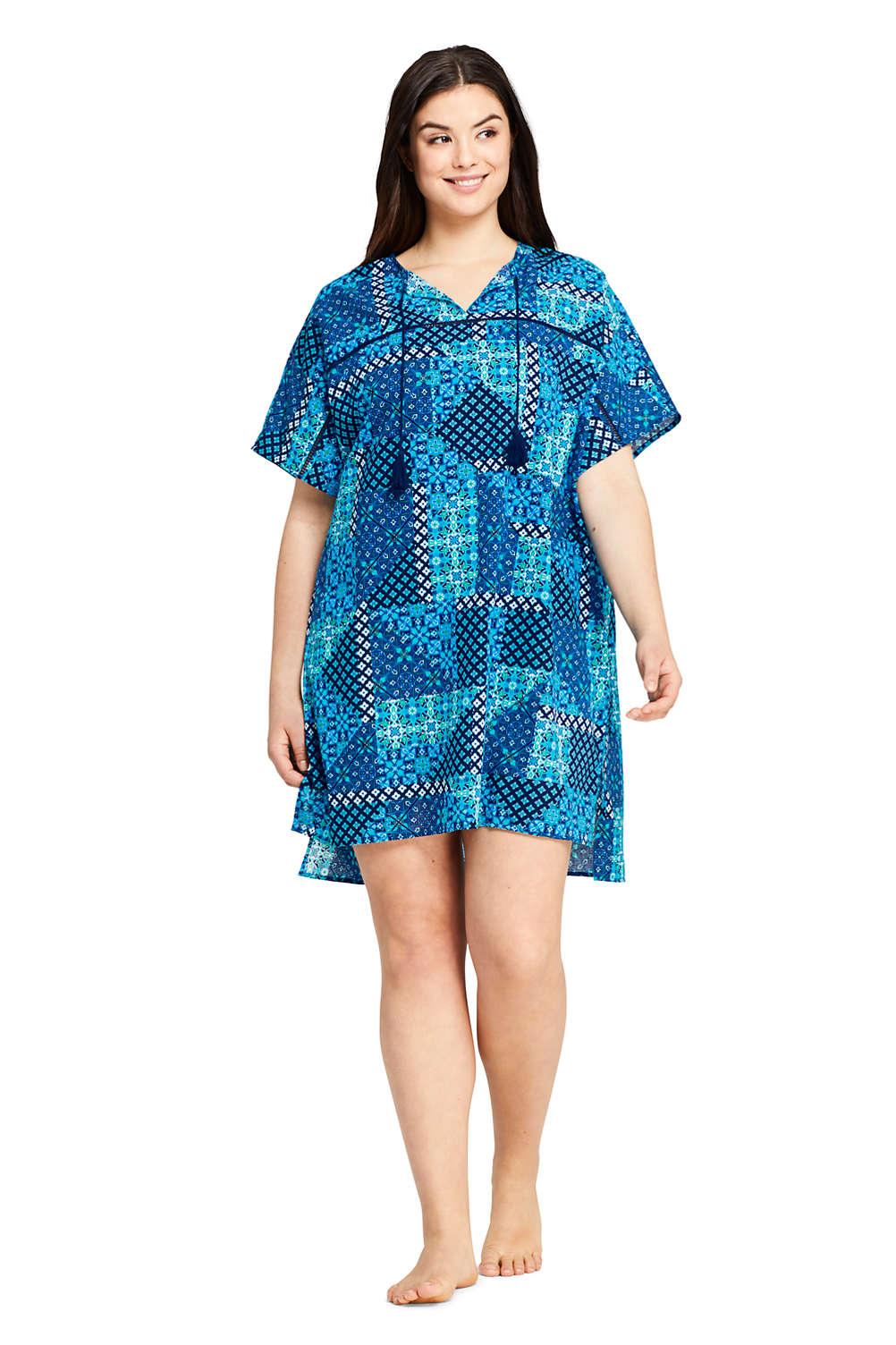 8a3c6435fc60c1 Women's Plus Size Cotton Voile Short Sleeve Kaftan Swim Cover-up Print from  Lands' End