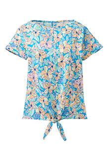 Women's Print Linen/Cotton Tie Front T-shirt