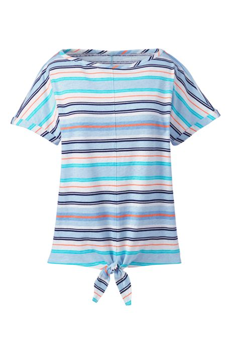 Women's Petite Short Sleeve Print Linen Cotton Boat Neck Tie Front T-shirt