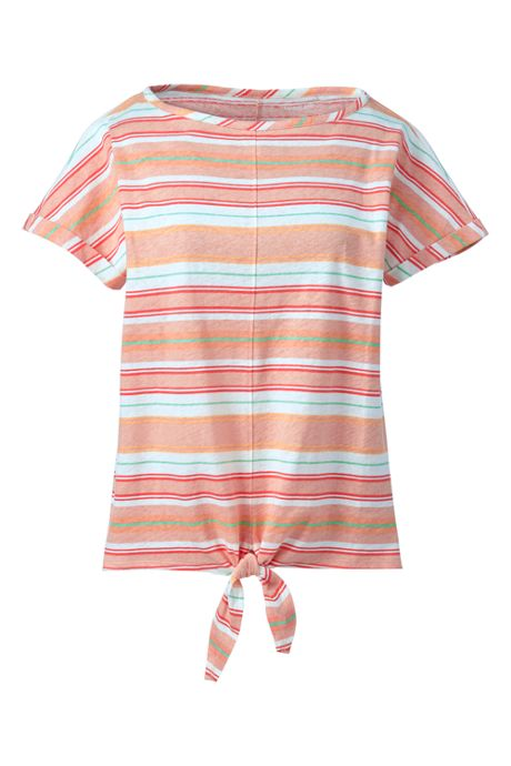 Women's Plus Size Short Sleeve Print Boat Neck Tie Front Linen Cotton T-Shirt