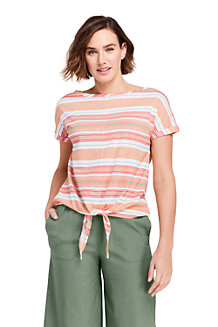 Women's Print Linen/Cotton Tie Front T-shirt