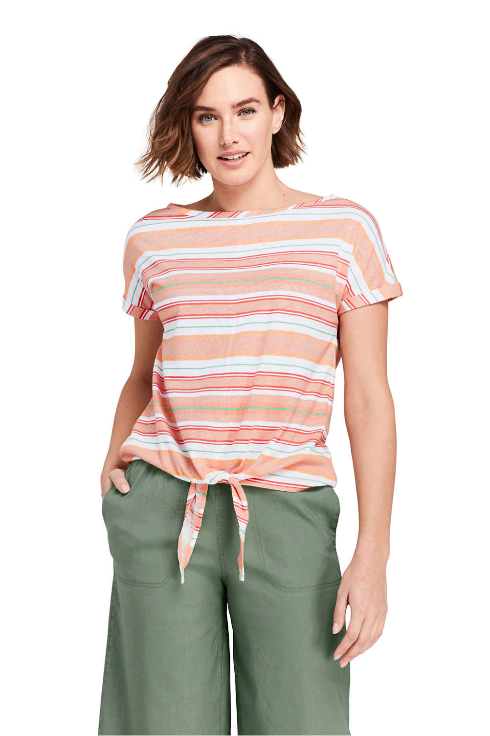 f333a0fc Women's Short Sleeve Print Boat Neck Tie Front Linen Cotton T-Shirt from  Lands' End