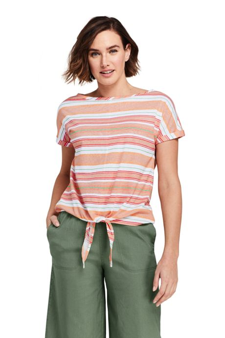 Women's Petite Short Sleeve Print Boat Neck Tie Front Linen Cotton T-Shirt