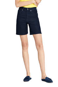 "Women's Petite High Rise 5 Pocket 7"" Blue Jean Shorts"