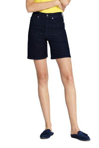 Short en Jean Stretch Indigo Rayé Taille Haute, Femme Stature Standard