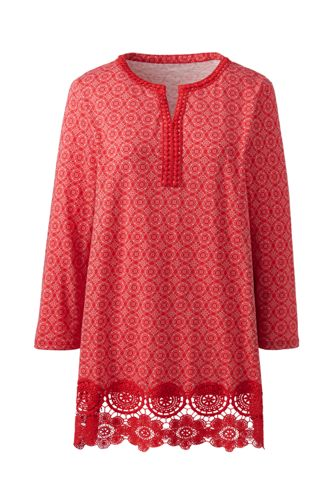 Women's Lace Trimmed Print Tunic Top