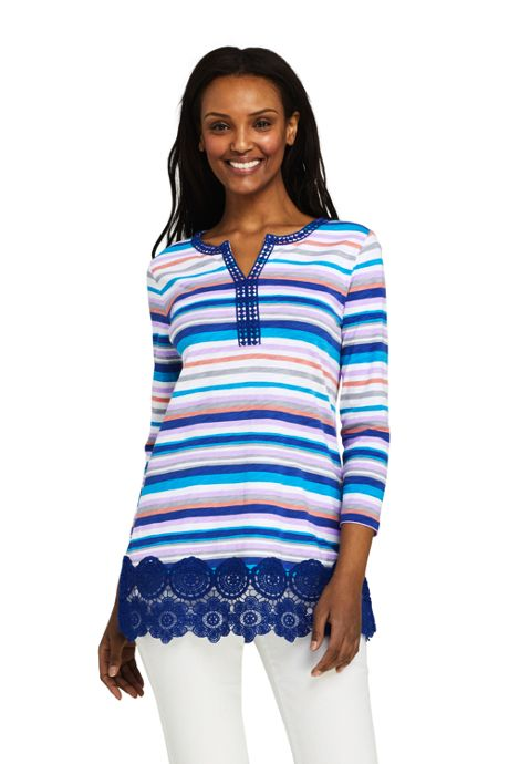Women's Tall 3/4 Sleeve Crochet Hem Print Tunic