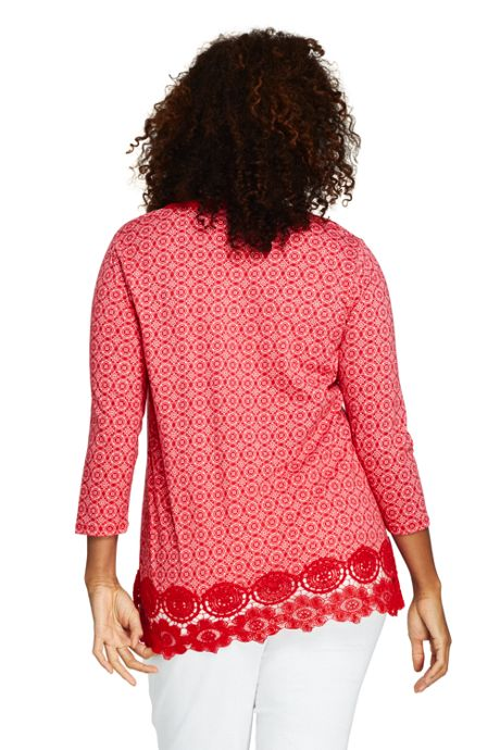 Women's Plus Size 3/4 Sleeve Crochet Hem Print Tunic
