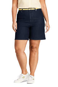 "Women's Plus Size High Rise 5 Pocket 7"" Blue Jean Shorts"