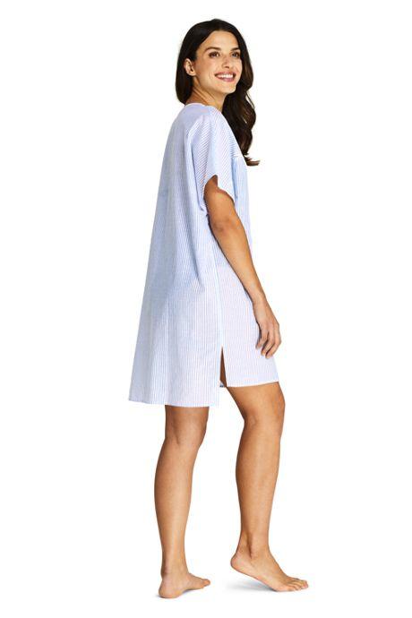 Women's Cotton Voile Short Sleeve Kaftan Swim Cover-up Stripe