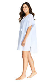 Women's Cotton Voile Short Sleeve Kaftan Swim Cover-up Stripe