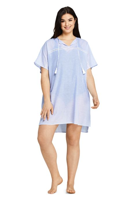 Women's Plus Size Cotton Voile Short Sleeve Kaftan Swim Cover-up Stripe