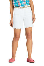 "Women's Mid Rise Embroidered Hem 7"" Chino Shorts"