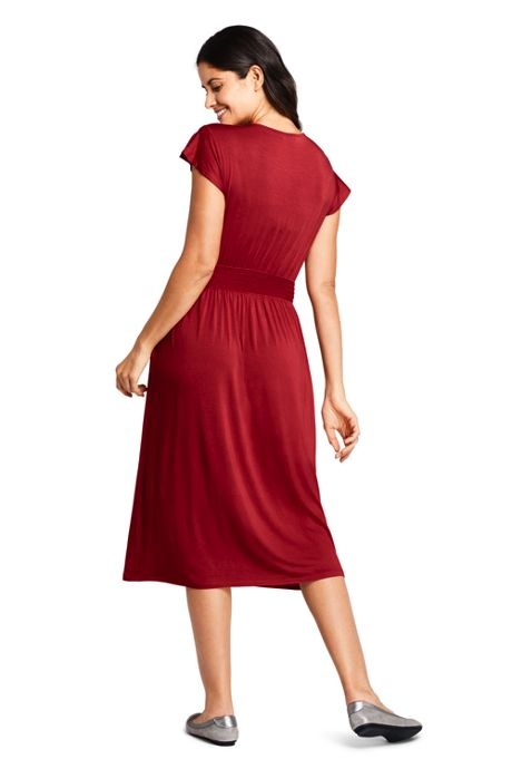 Women's Petite Flutter Short Sleeve Smocked Waist Dress