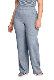 Women's Plus Size Twill Linen Blend Wide Leg Pants