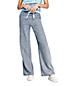 Pantalon Large Indigo en Lin Mélangé, Femme Stature Petite