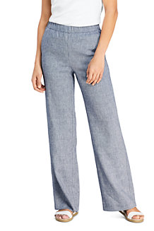 Women's Wide Leg Linen Blend Trousers