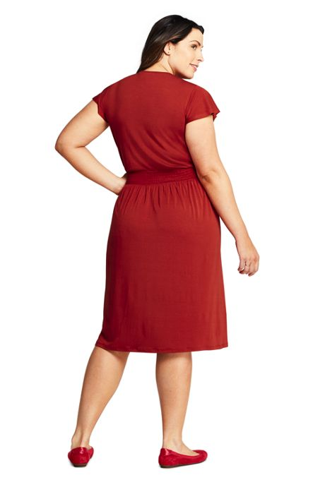Women's Plus Size Flutter Short Sleeve Smocked Waist Dress