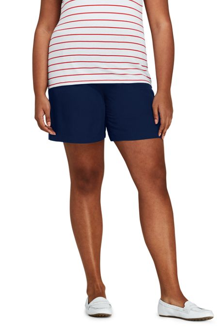 Women's Plus Size Slub Tencel Pull On Shorts