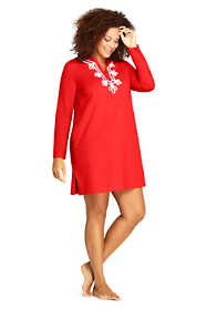 Women's Plus Size Cotton Jersey Embelished Hooded Half Zip Swim Cover-up