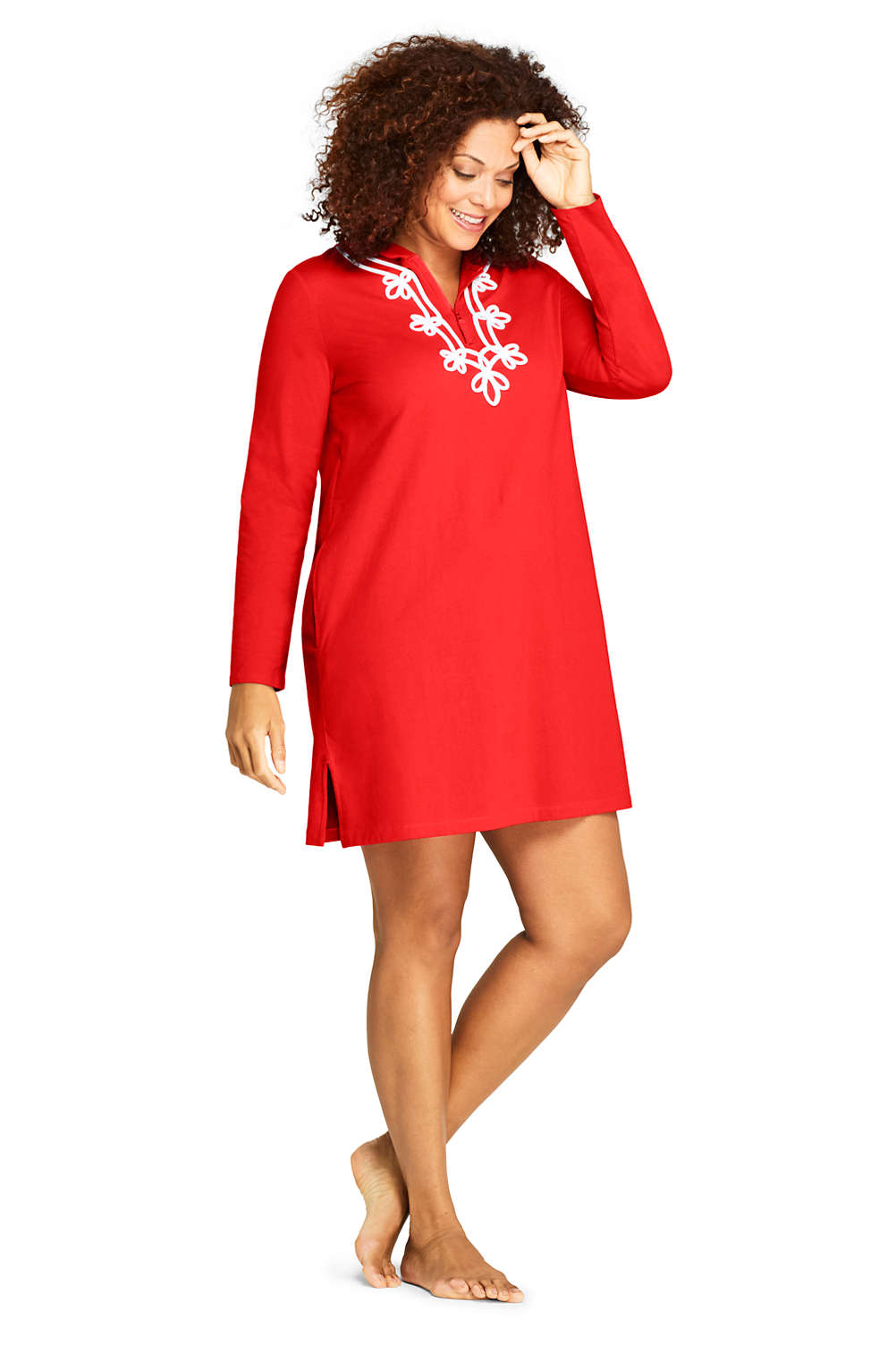 80e5c1ef063 Women's Plus Size Cotton Jersey Embelished Hooded Half Zip Swim Cover-up  from Lands' End