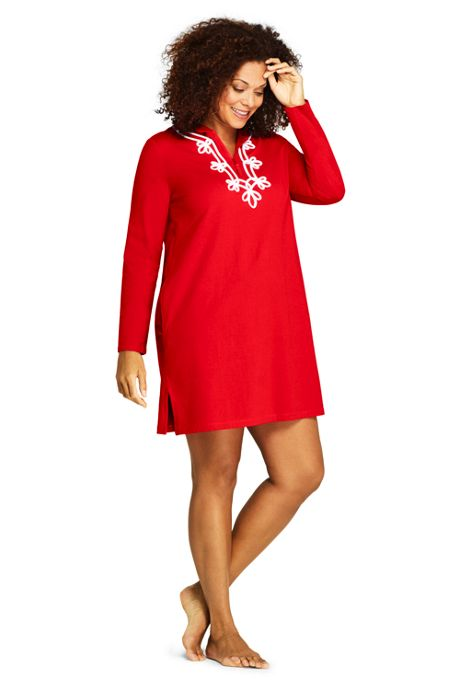 f4053fdff74f9 Women s Plus Size Cotton Jersey Embelished Hooded Half Zip Swim Cover-up