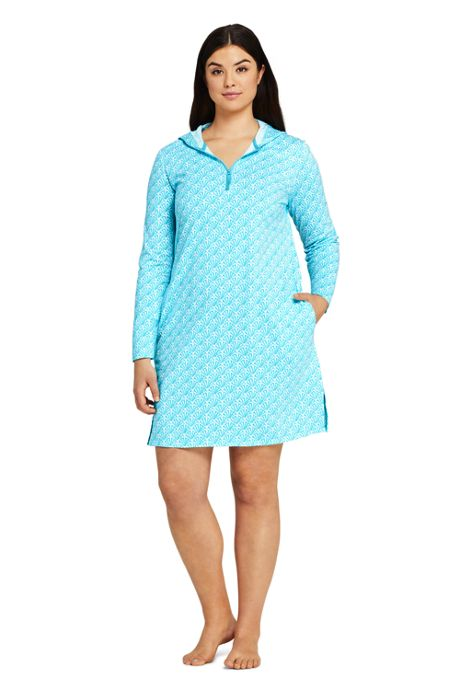 Women's Plus Size Cotton Jersey Hooded Half Zip Swim Cover-up Print