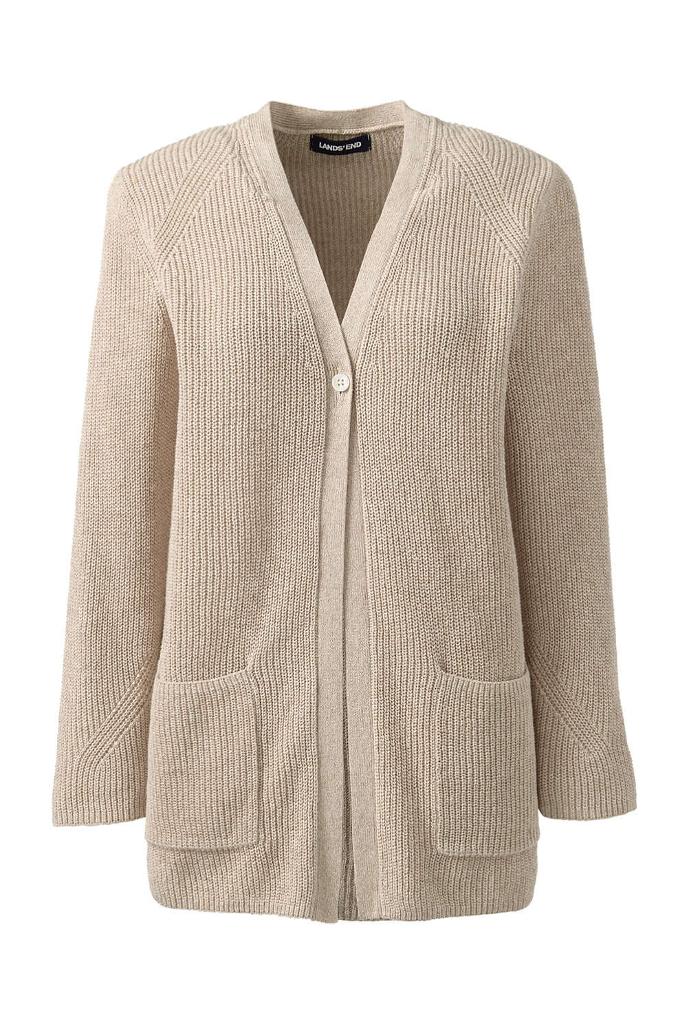 3bf33bc525af Women s Linen Cotton 3 4 Sleeve Shaker V-neck Cardigan Sweater from ...