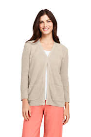 Women's Linen Cotton 3/4 Sleeve Shaker V-neck Cardigan Sweater