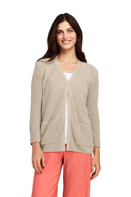 Women's Petite Linen Cotton 3/4 Sleeve Shaker V-neck Cardigan Sweater