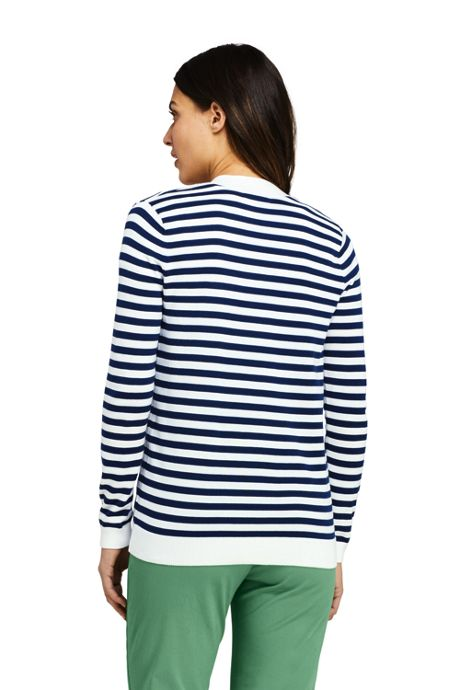 Women's Long Sleeve Supima Stripe Open Cardigan Sweater