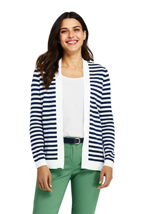 Women's Petite Long Sleeve Supima Stripe Open Cardigan Sweater
