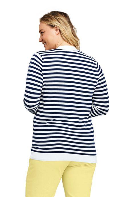 Women's Plus Size Long Sleeve Supima Stripe Open Cardigan Sweater