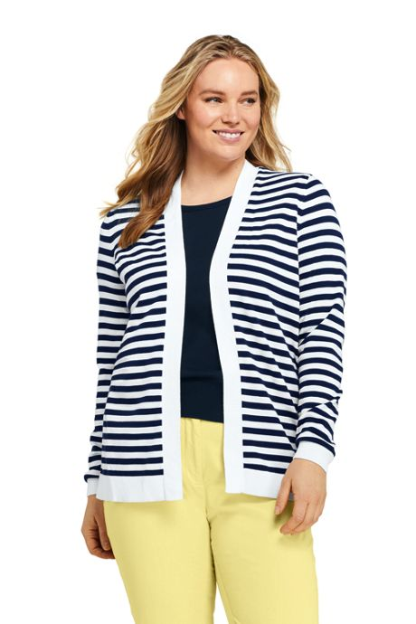 Women's Plus Size Long Sleeve Supima Stripe Open Cardigan Sweater