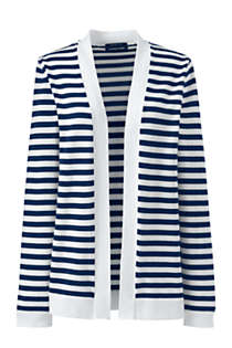 Women's Tall Long Sleeve Supima Stripe Open Cardigan Sweater, Front